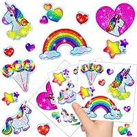 German-Trendseller ® 12 x Feuilles Sticker de Licorne┃ Autocollants Scintillants┃ différentes Motifs┃Petit Cadeau┃l'anniversaire d'enfant┃décoration et Bricolage