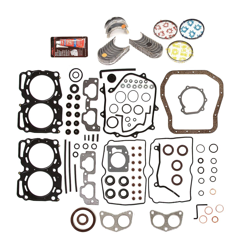 Evergreen Engine Rering Kit FSBRR9009MLSEVE\0\0\0 99-03 Subaru 2.5 SOHC EJ25 Full Gasket Set, Standard Size Main Rod Bearings, Standard Size Piston Rings Evergreen Parts And Components