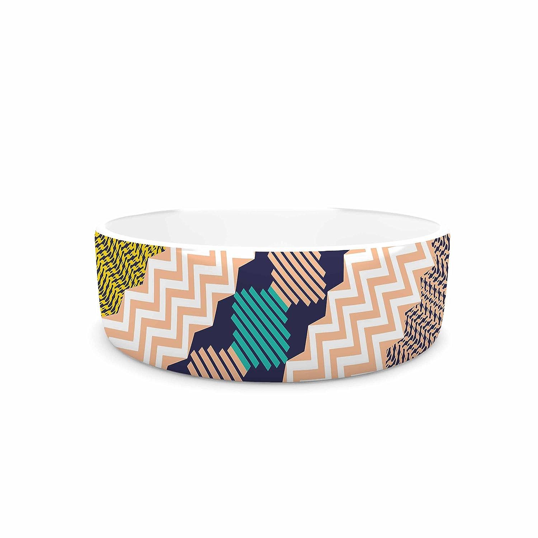 KESS InHouse Akwaflorell Knitted 3  Coral Teal Pattern Pet Bowl, 7  Diameter