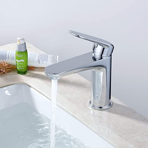Single Handle Bathroom Sink Faucet, One Hole Deck Mount Lavatory Faucet, Polished Chrome