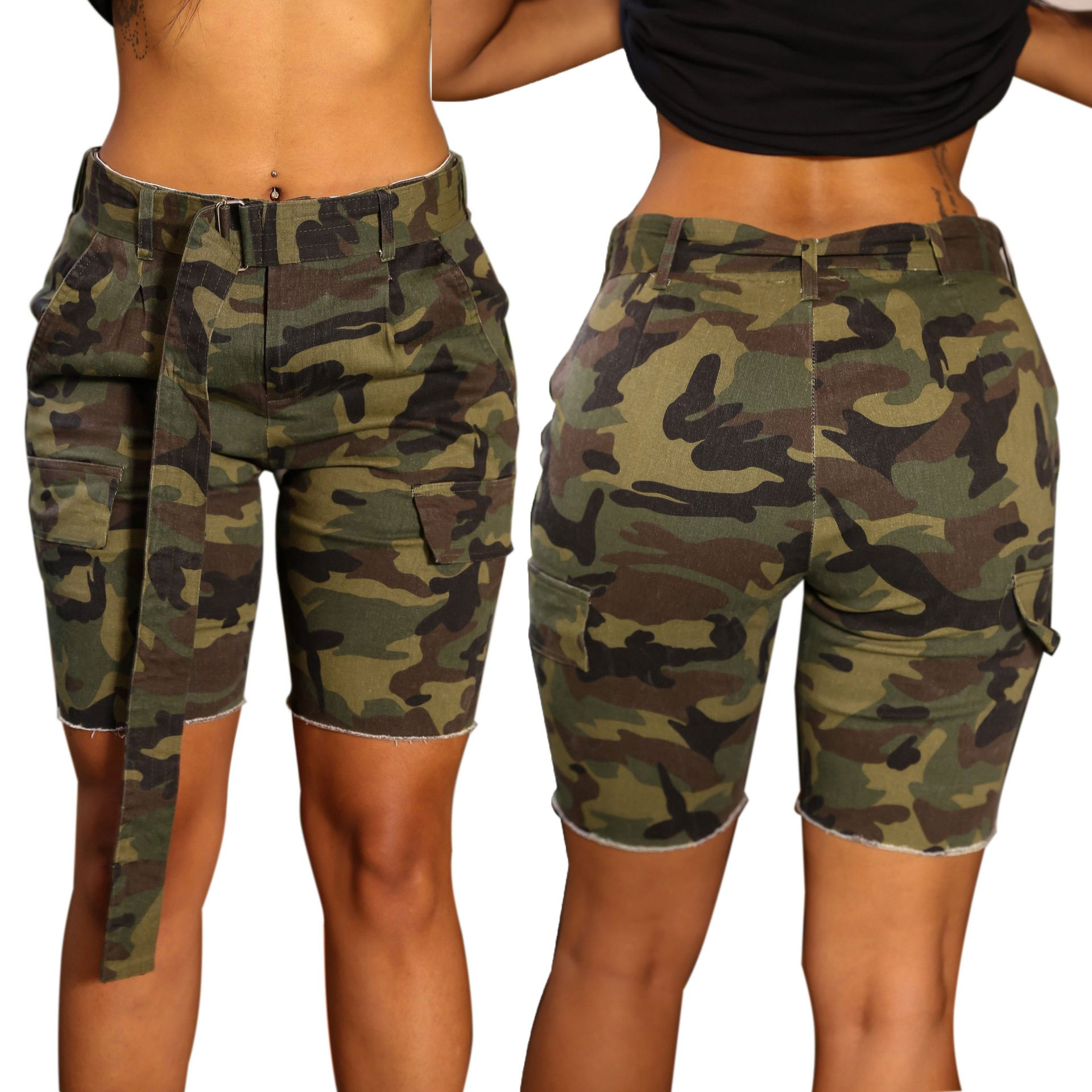 PINLI Camouflage Womens Denim Shorts Sexy Casual Summer Stretch Plus Size high Waisted Beach Jeans Shorts Capri (Camo L) by PINLI (Image #2)