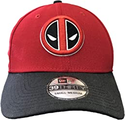 New Era Deadpool Symbol Scarlet & Black 39Thirty Cap Hat- Small/Medium