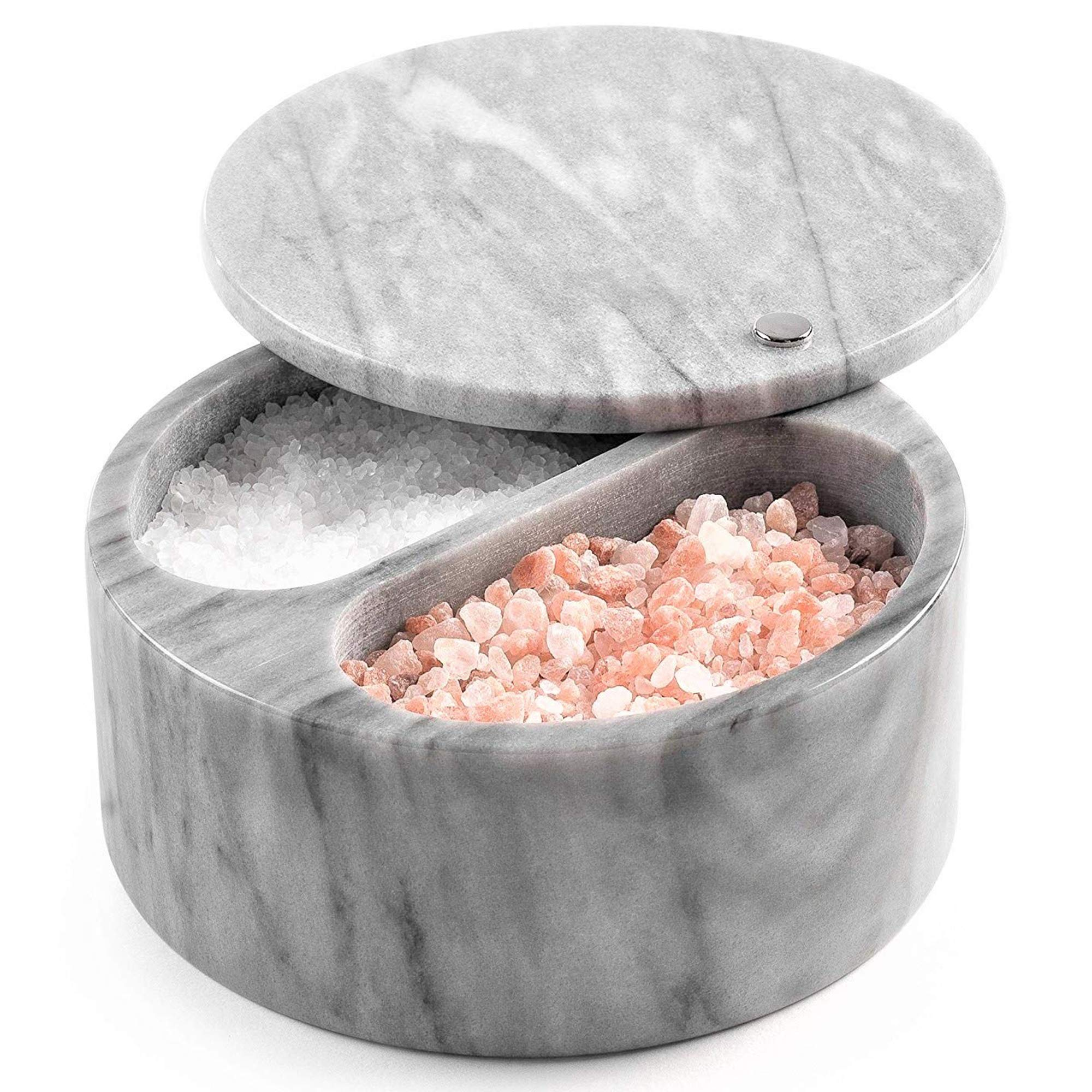 Salt Cellar with Swivel Top and Dual Compartment Elegant Grey Marble Salt Box with Lid for Salt, Spice and Herbs Storage - 5 Ounce Capacity (Grey)