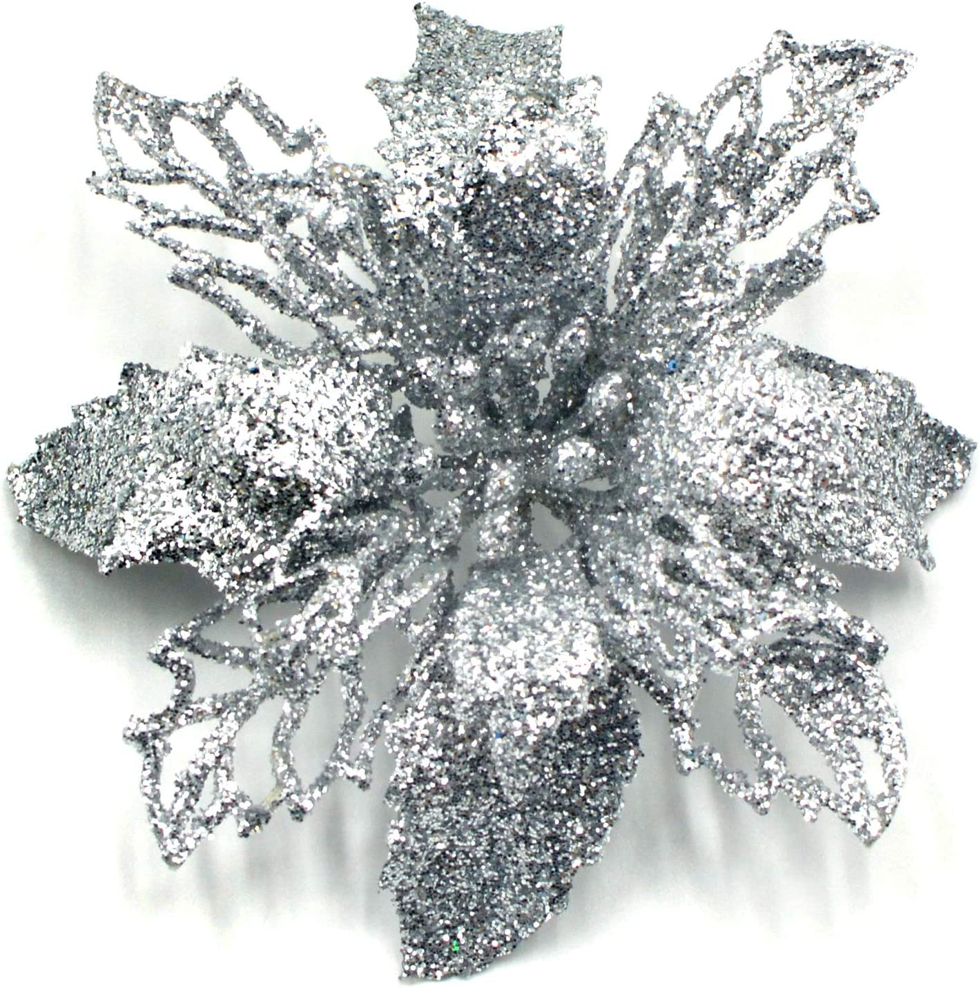 DuHouse Artificial Glitter Poinsettia Flowers Christmas Tree Wreath Ornaments for Home Kitchen Decor Pack of 6 (Silver)
