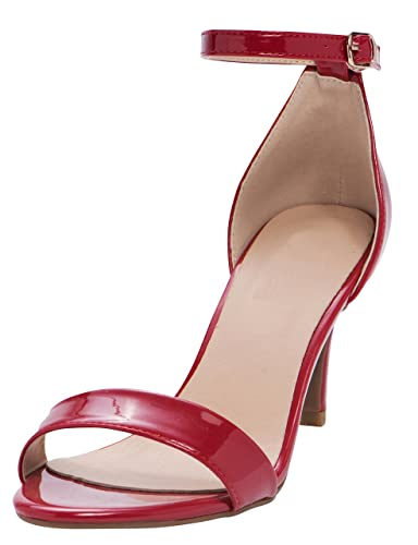 5a59391e298 Cambridge Select Women s Open Toe Single Band Buckled Ankle Strap Stiletto  Mid Heel Sandal
