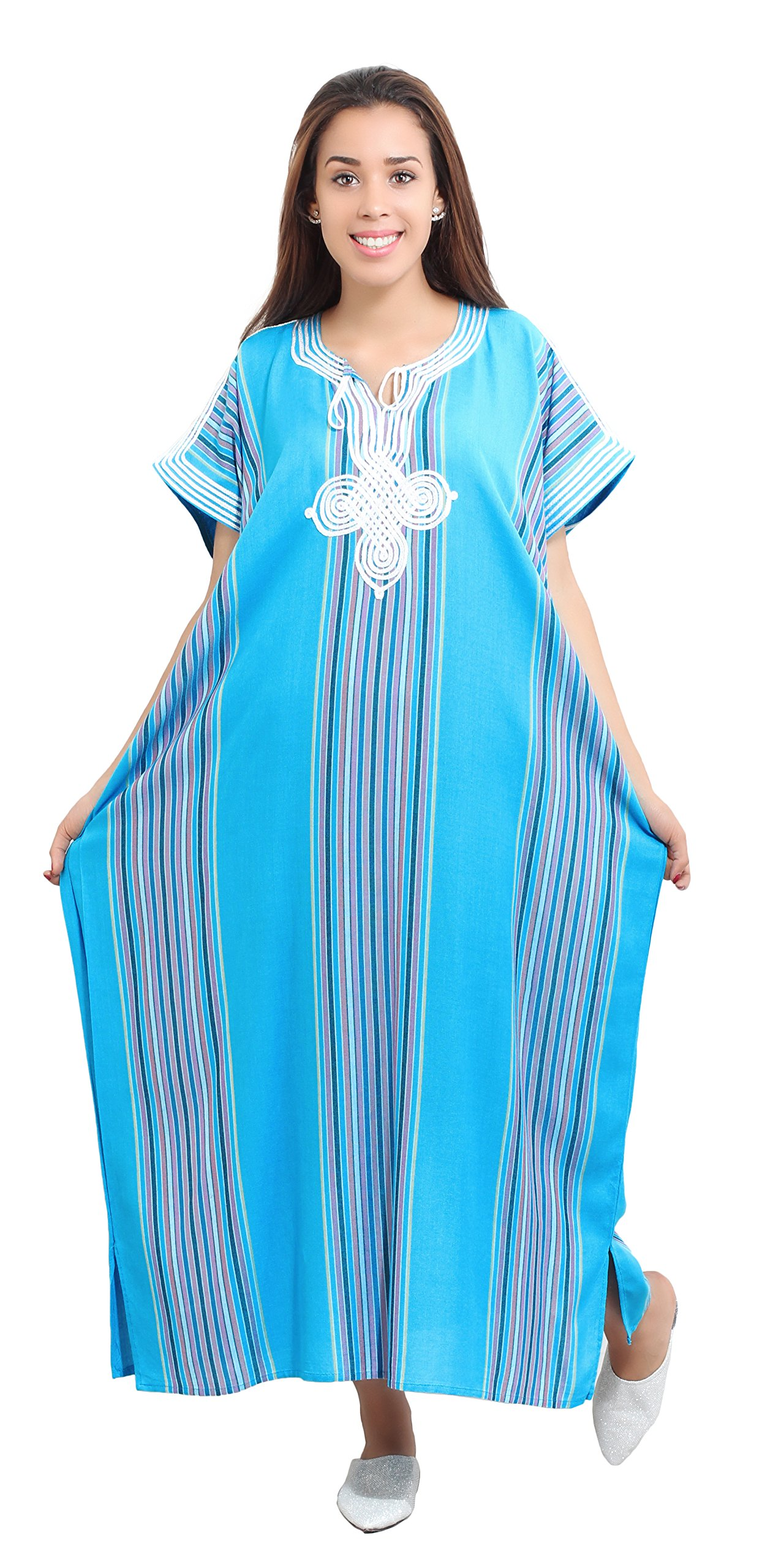 Moroccan Caftans Women Linen Handmade SMALL to LARGE Turquoise
