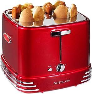 Nostalgia RHDT800RETRORED Four Dogs & Buns Pop-Up Toaster, 4-Hot Dogs, Retro Red (Renewed)
