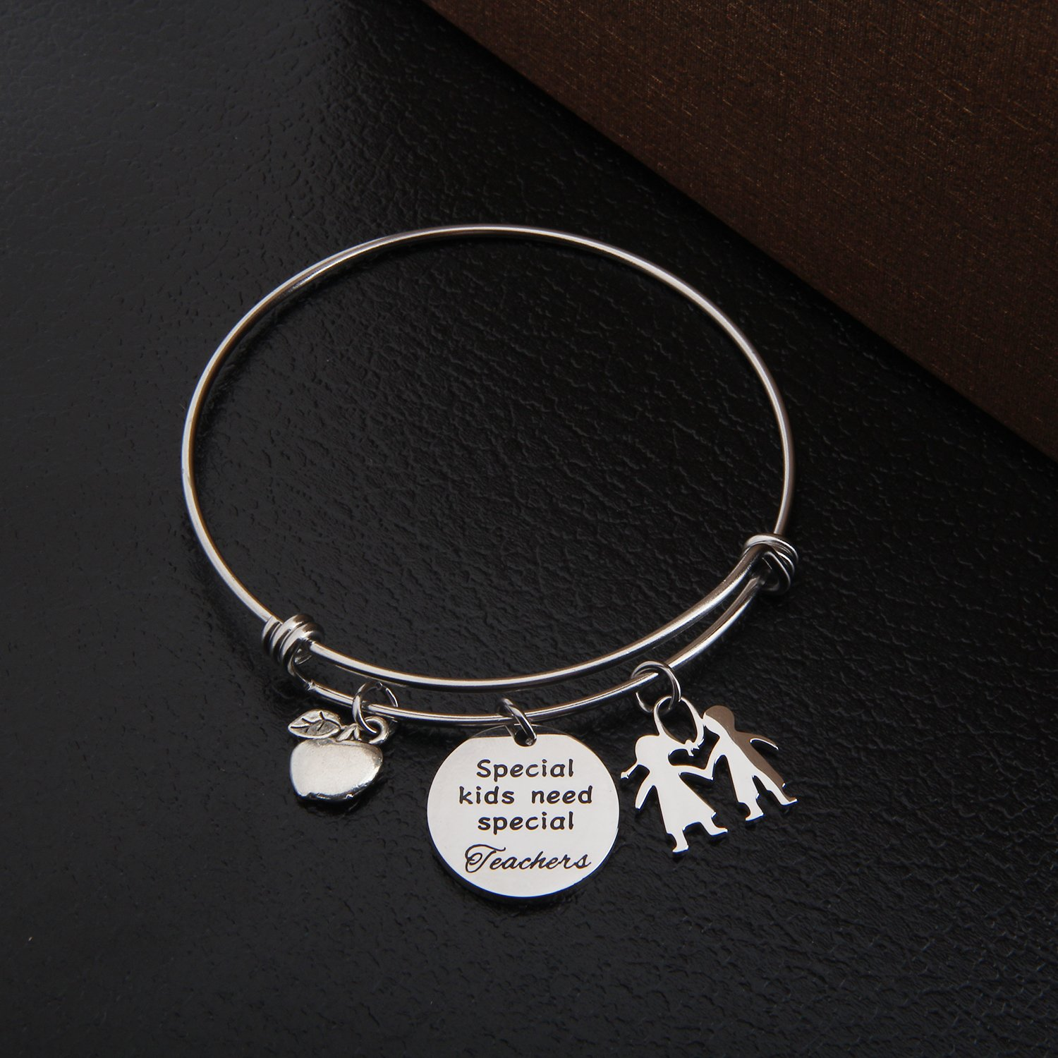 TGBJE Teacher Gifts Special Kids Need Special Teachers Bracelet Wire Bangle Teacher Appreciation Gift With Apple Charm