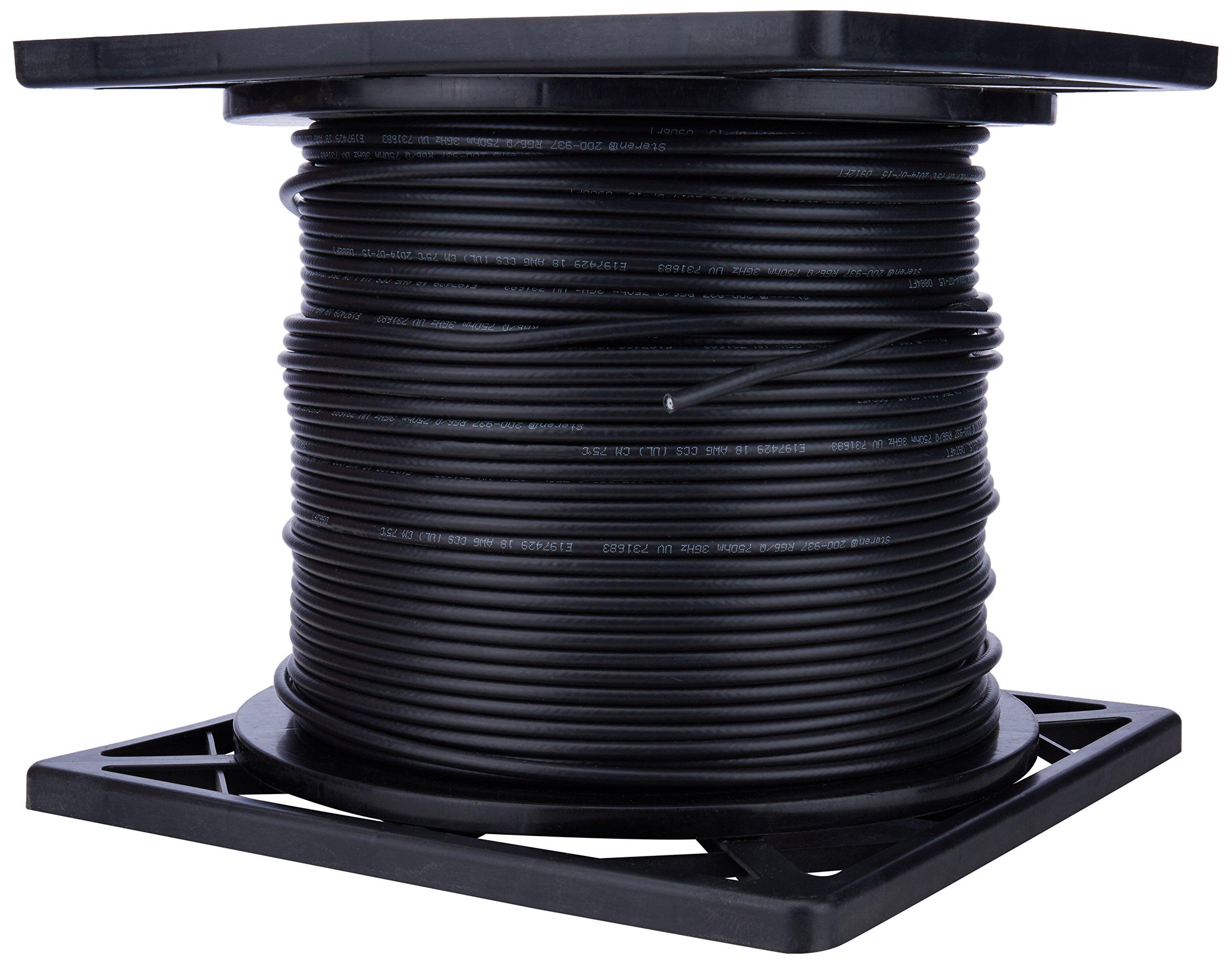 Steren 200-937BK 1000 feet RG6 Ul/cm Quadsld Coax Cable - Black