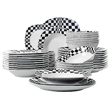 23dbbb810bff0c Veweet LOUISE 48pcs Service de Table Pocelaine 12pcs Assiettes Plates  24,6cm, Assiette Creuse