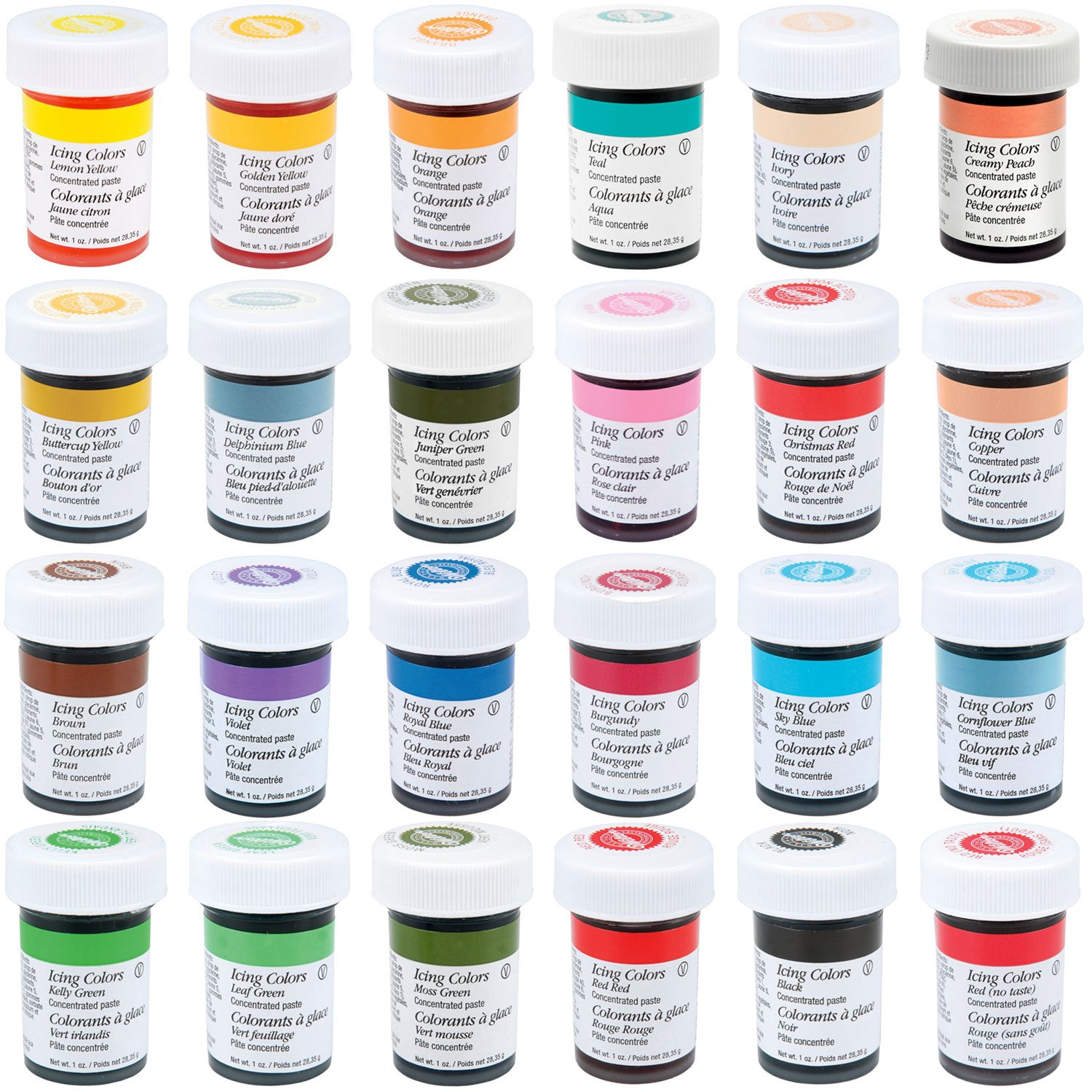 Amazon.com : Wilton Master 24 Icing Color 1-Ounce Set : Food ...