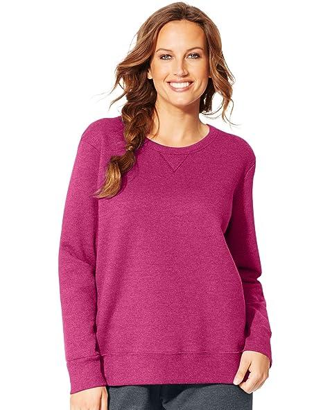 Just My Size Womens ComfortSoft EcoSmart V-Notch Crewneck Sweatshirt,  OJ098, Jazzberry Pink