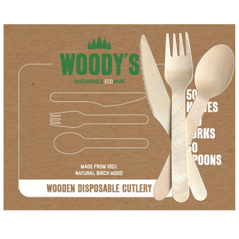 Juego de cubiertos desechables de madera ecológica de ...