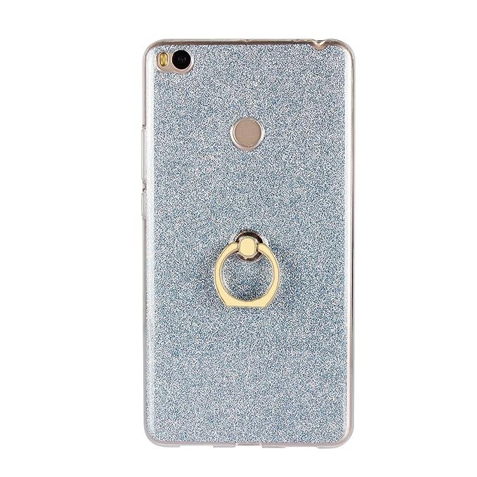 Funda para Xiaomi Mi MAX 2 Carcasa-Brillantes Glitter Bling de Gel de Silicona Soft TPU Cover con 360 °Grados Soporte Rotating Anti-Gota Anillo-Azul
