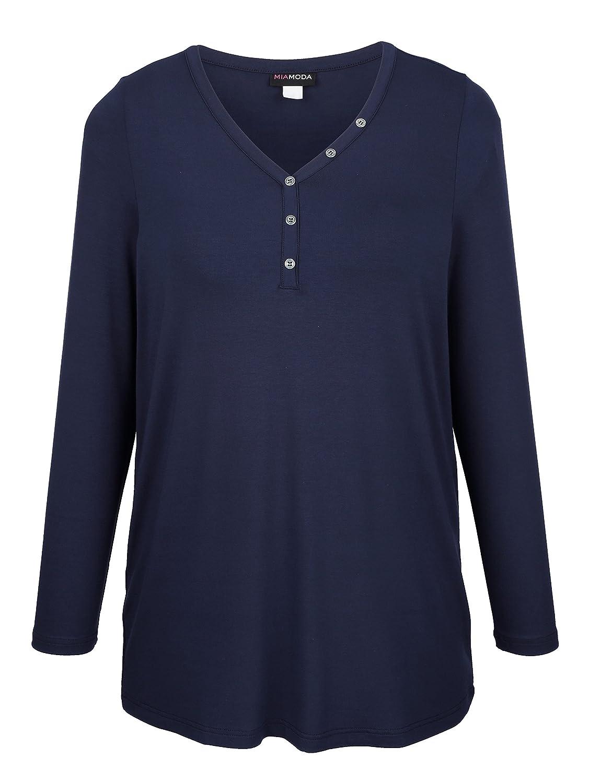 MIAMODA Shirt in vielseitig kombinierbarem Basic Stil schwarz langarm Kunstfaser