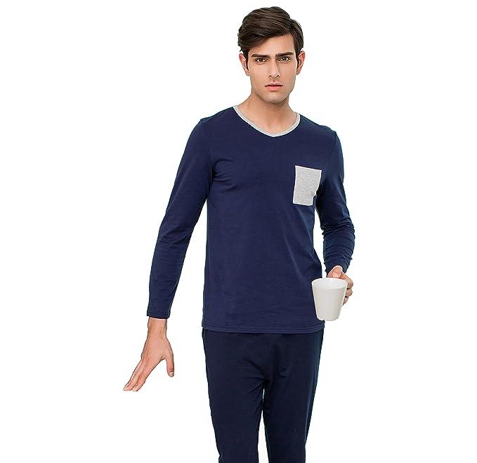 QianXiu camisa de dormir ropa de noche para hombre ropa de noche de la caída moda cómoda pijama manga larga set: Amazon.es: Ropa y accesorios