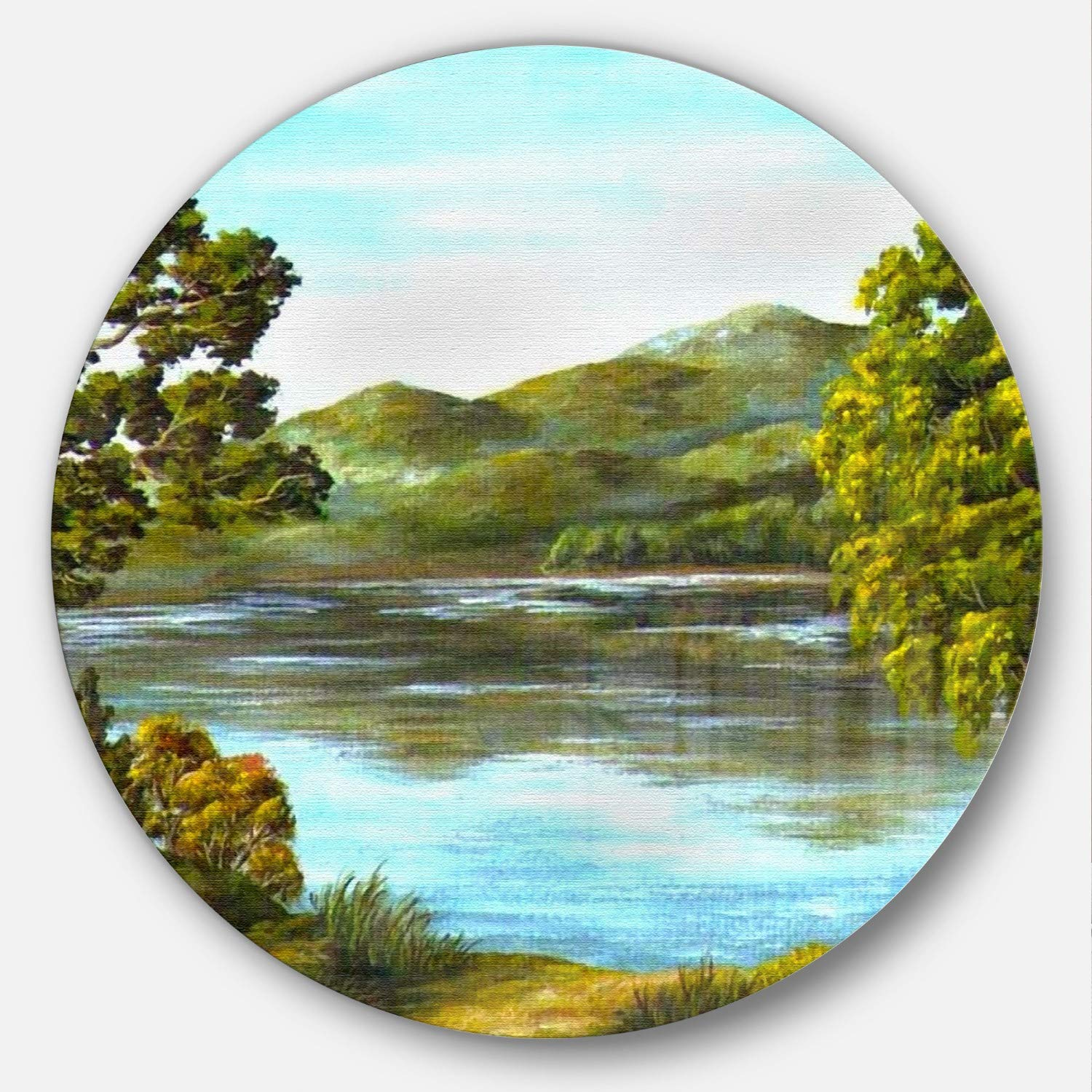 Disc of 38 inch 38x38-Disc Green Designart Mountain Lake with Blue Water Landscape Metal Wall Art