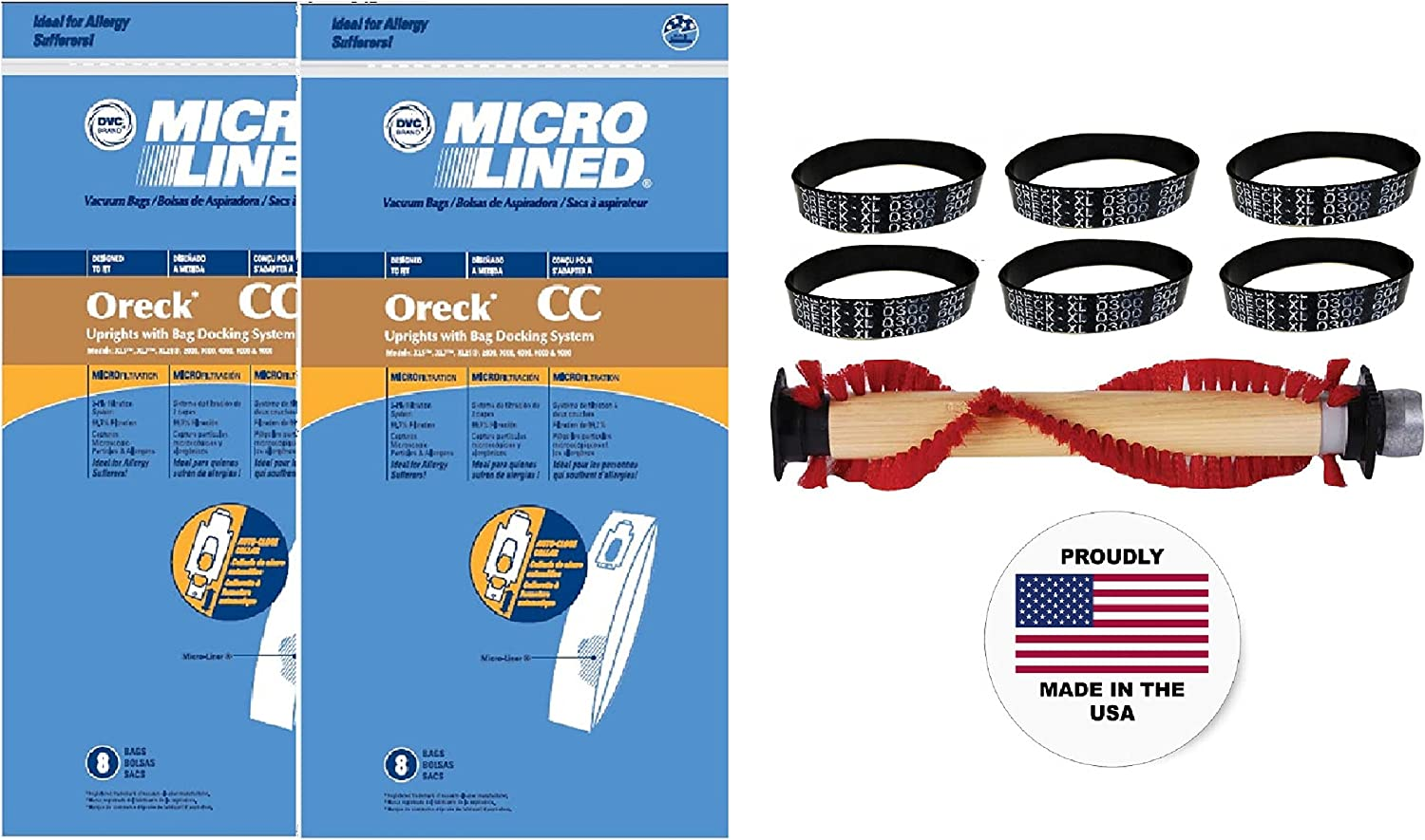 One Year Maintenance Supply Kit, Bags, Belts and Roller Brush, for all XL Uprights. Proudly Made In USA.