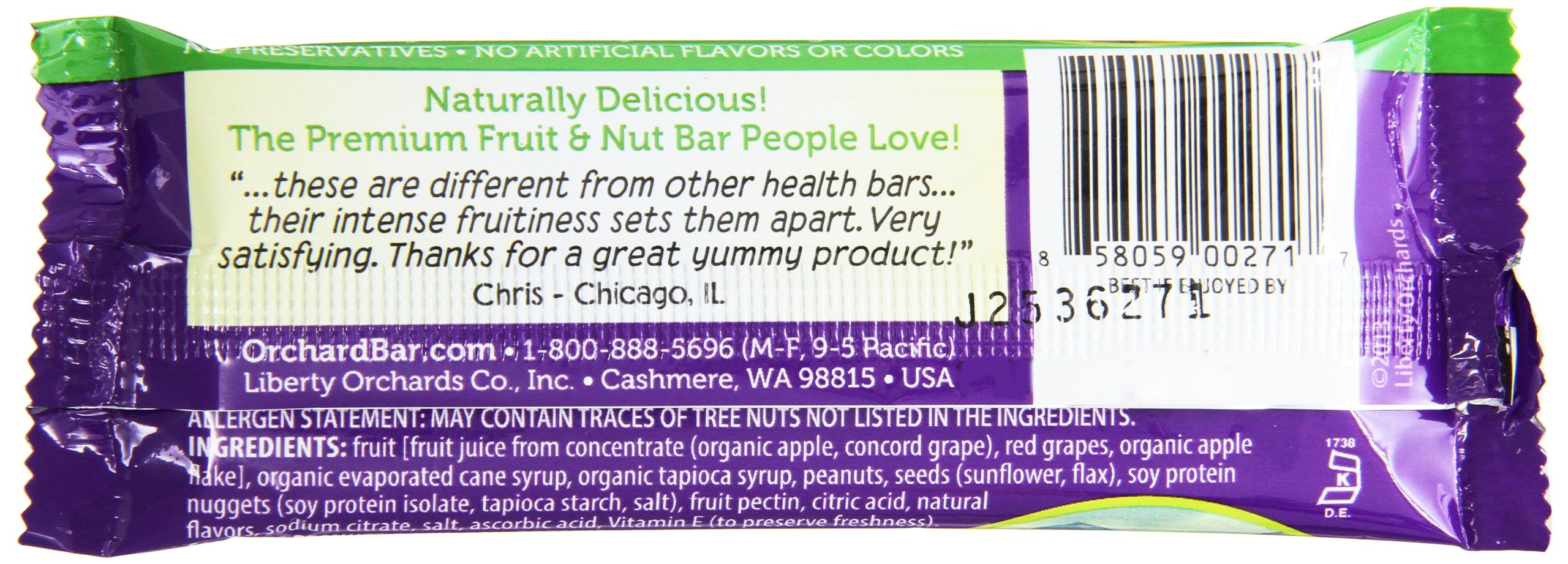 Orchard Bars Peanut Crunch Fruit and Nut Bar, Concord Grape, 1.4 Ounce (Pack of 12) by Orchard Bars (Image #4)