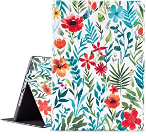 Ipad 9.7 Case 2017 2018, Ipad Air 1 2 Case, Ipad 5th 6th Smart Case with Auto Wake/Sleep Function, Vimorco Premium Leather Protect Cover with Adjustable Stand Angle, White Flowers