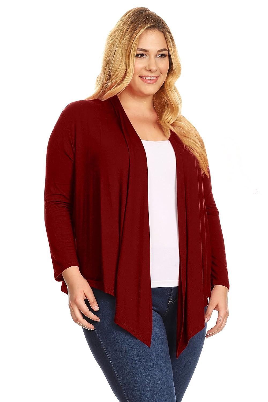 Simlu Womens Plus Size Open Front Cardigan Long Sleeve Lightweight ...