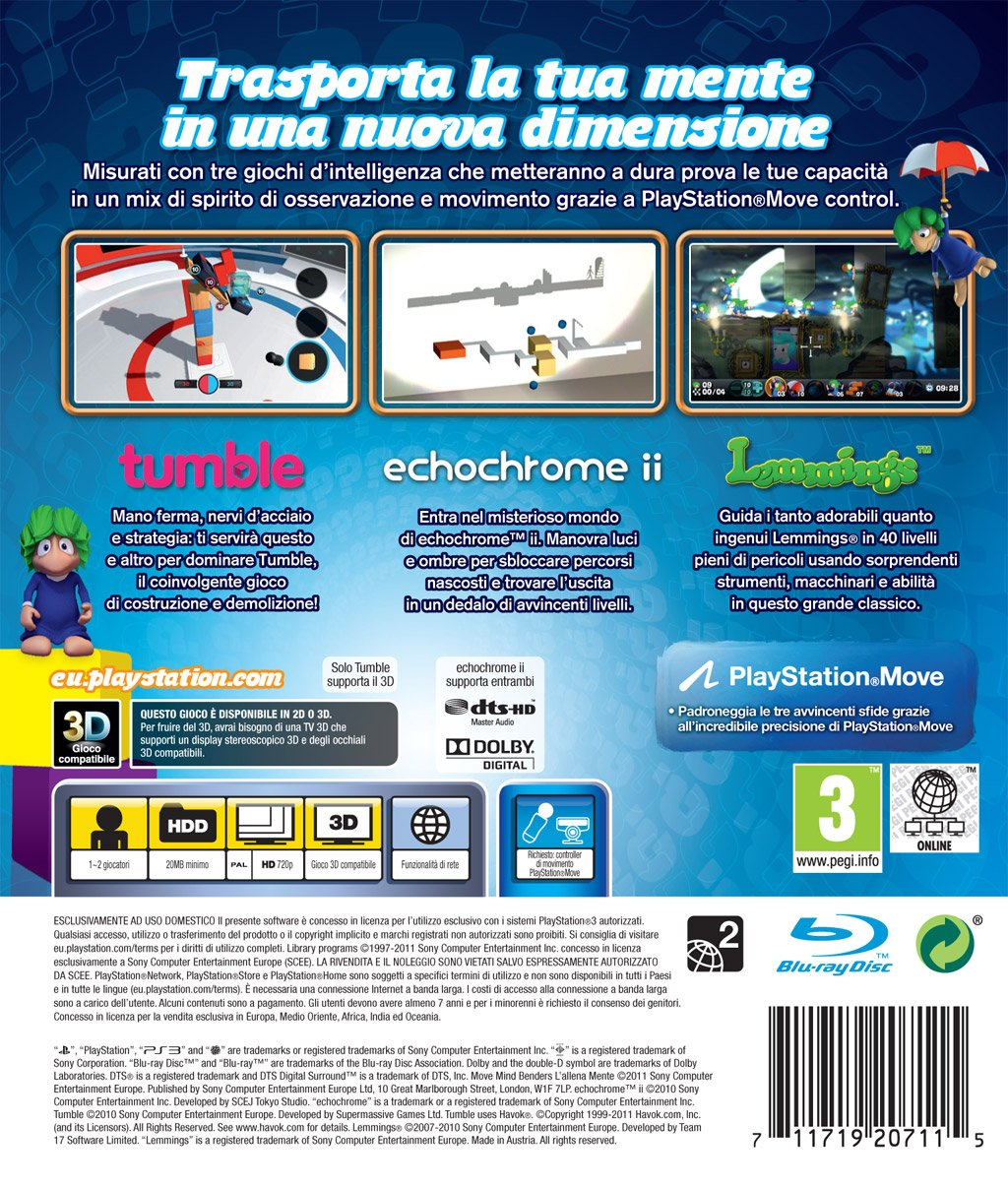 Amazon.com: SONY GIOCO MOVE MIND BENDERS : L ALLENAMENTE PS3: Video Games