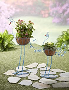 The Lakeside Collection Bird Planters Peacock Set of 2
