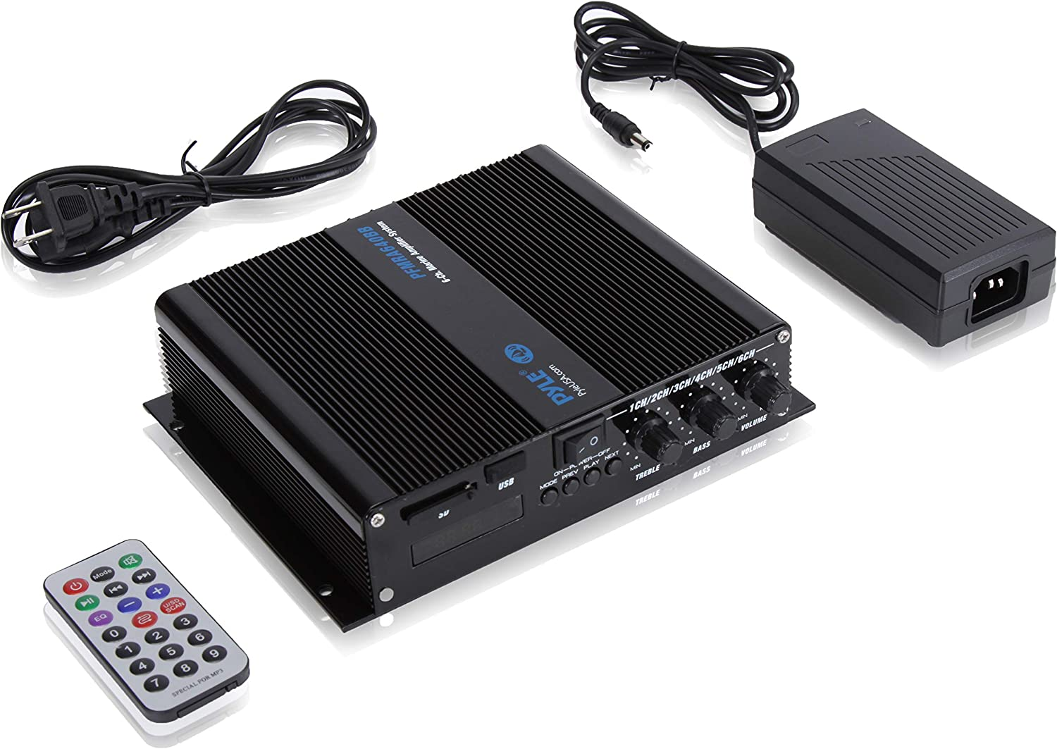 Bluetooth Marine Amplifier 6-Ch 600 Watt Weather Resistant Audio Amp System with MP3//USB//SD Readers