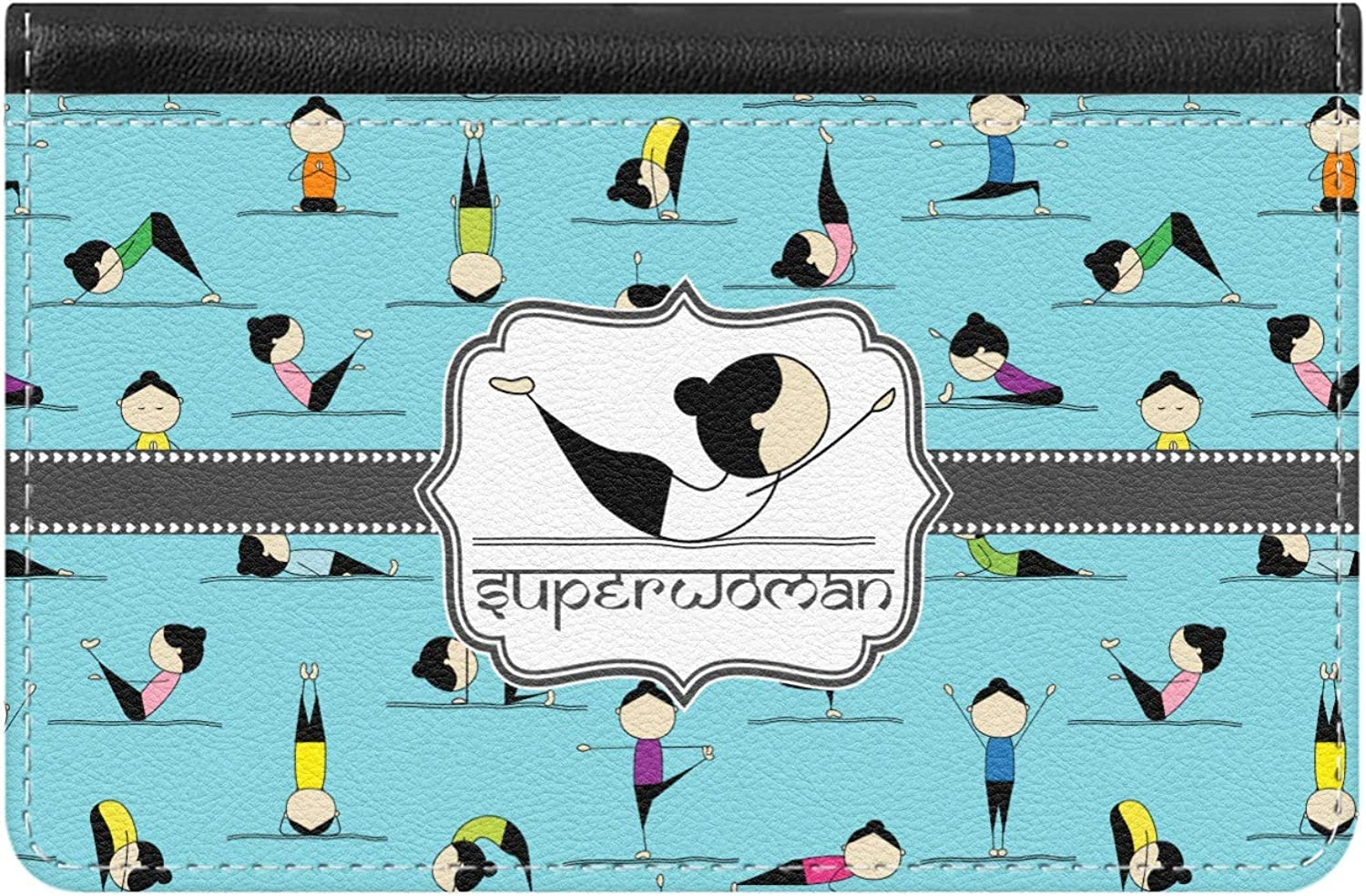 Yoga Poses Genuine Leather ID & Card Wallet - Slim Style