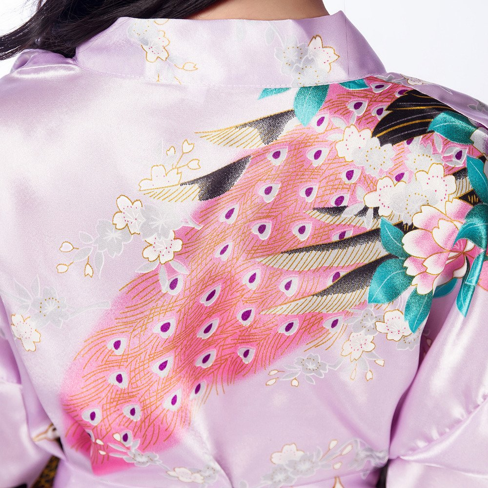 FY M/ädchen Kinder Kimono Badem/äntel Morgenm/äntel Seidenrobe Pfau Blume Print Imitation Seide Nachtw/äsche Negligee Sleepwear Spa Hochzeit Geburtstag Party Geschenk