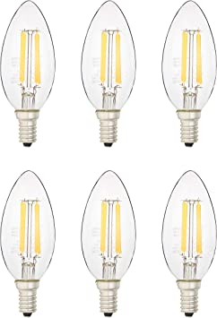 Amazon Basics 40 Watt Equivalent, All Glass, Dimmable, B11 LED Light Bulb   Soft White, 6-Pack