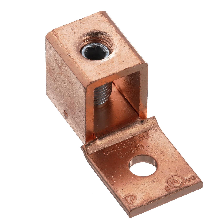 ファッションデザイナー パンドウイット 国内正規品 銅製メカニカルコネクター CX225-56HKR-Q 1穴 シングルバレル パンドウイット ストレート固定タン型ラグ AWG2-4/0 AWG2-4/0 取付穴7.9mm 六角ネジ 7/32