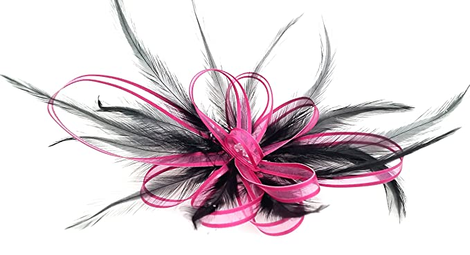 Black   Fuchsia Pink Hair Fascinator Comb Hand made in UK  Amazon.co ... f020b18fc8d