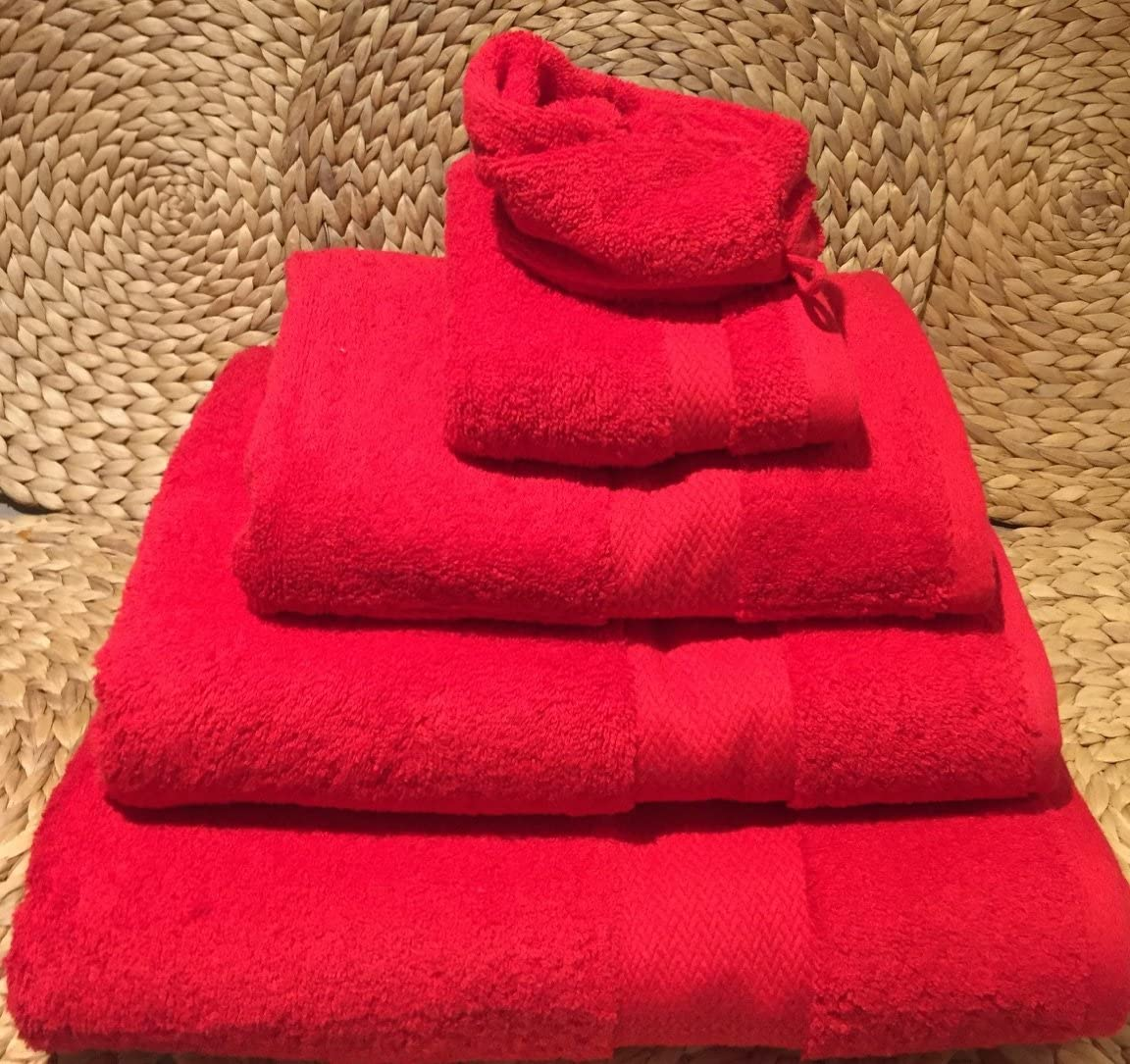 Salomé Prestige Maxi – Toalla de baño algodón Peinado 550 gr/m² Rojo 100 x 150: Amazon.es: Hogar