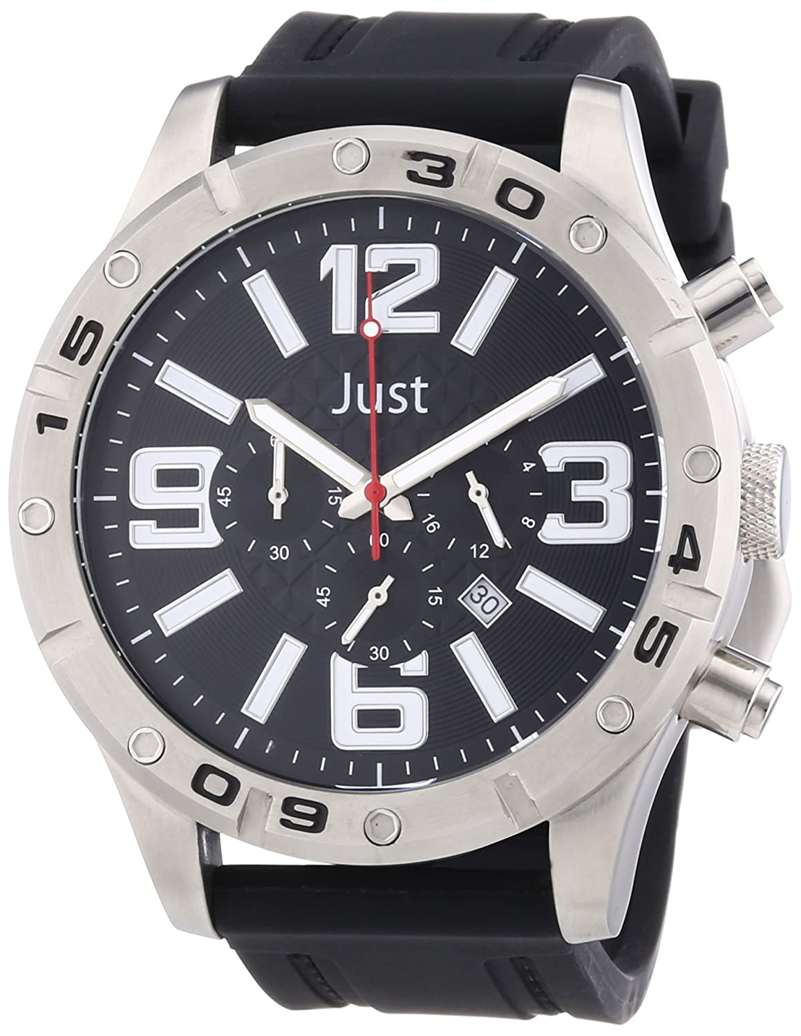 Just Watches Herren-Armbanduhr XL Analog Quarz Kautschuk 48-S3978-BK