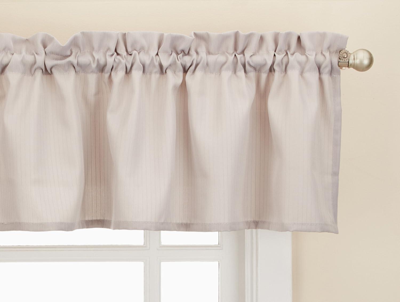 "LORRAINE HOME FASHIONS Ribcord Window Curtain Tailored Valance, 54"" x 12"", Gray"