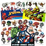Super Hero Party Supplies Set 125 Temporary Tattoos Featuring Marvel Avengers, Spiderman And Teenage Mutant Ninja Turtles!