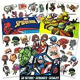 Super Hero Party Supplies Set -- 126 Temporary Tattoos Featuring Marvel Avengers, Spiderman and Teenage Mutant Ninja Turtles
