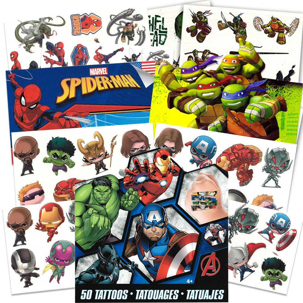 Super Hero Party Supplies Set 126 Temporary Tattoos Featuring Marvel Avengers Spiderman and Teenage Mutant Ninja Turtles