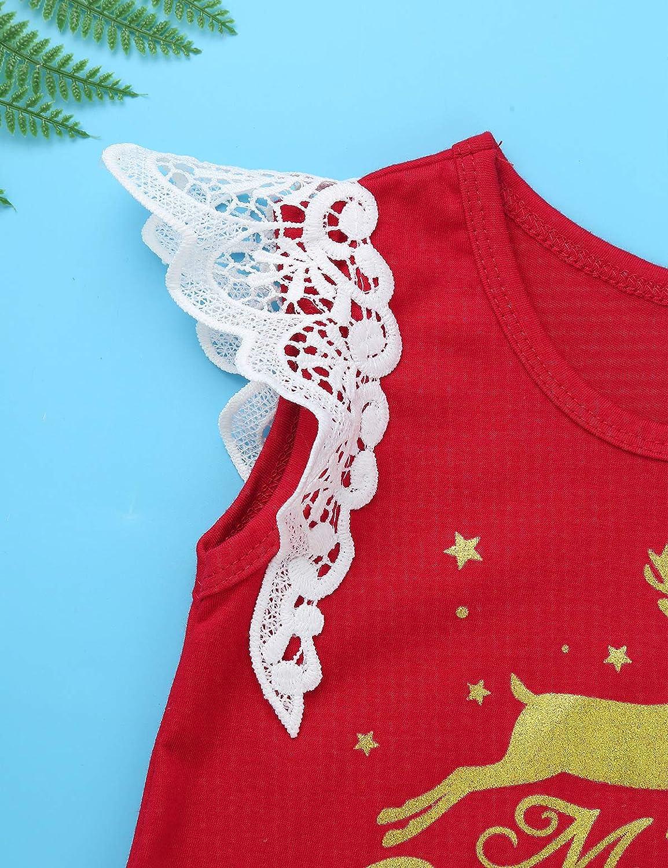 inlzdz B/éb/é Fille Costume No/ël Vetement Hiver Ensembles Combinaison Pyjama Fille Body Tops sans Manche Barboteuse /& Jupe /& Bandeau Couronne 3-18 Mois Rouge 3-6 Mois