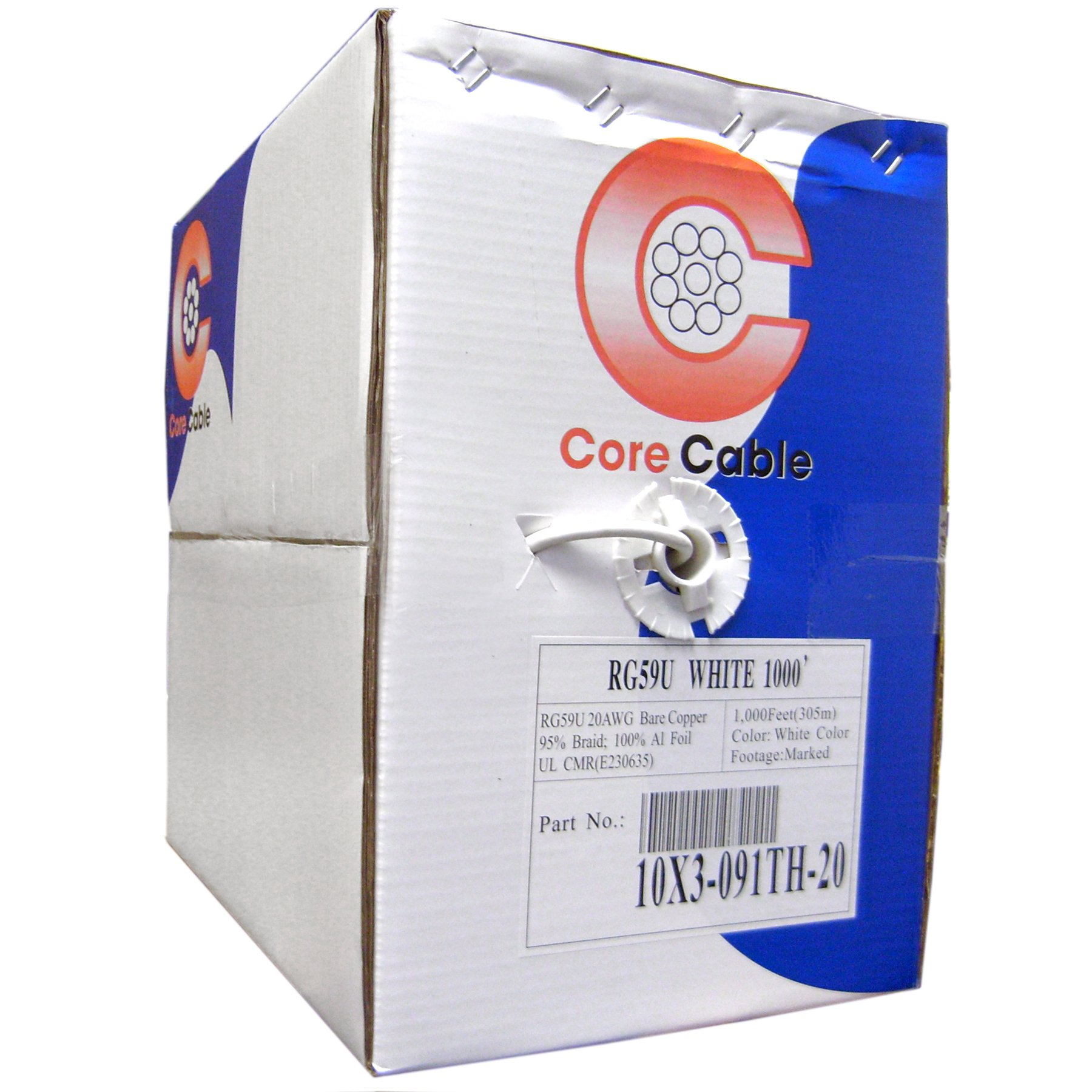 Bulk RG59/U Coaxial Cable, White, 20 AWG, Solid Core, Copper, Pullbox, 1000 Foot