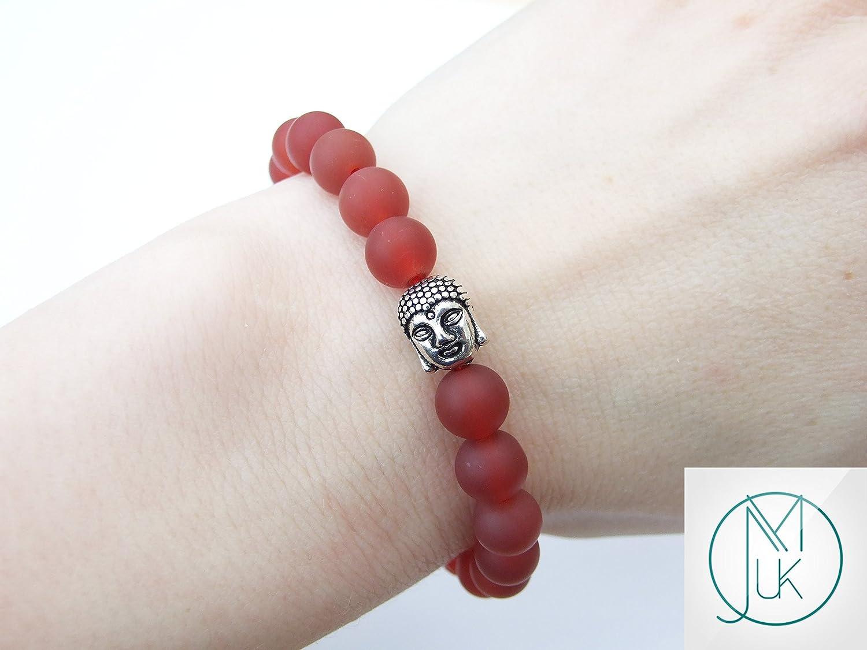 Buddha Carnelian Matt Natural Gemstone Bracelet Beaded 6-9 Elasticated Healing Stone Chakra Reiki With Pouch FREE UK SHIPPING