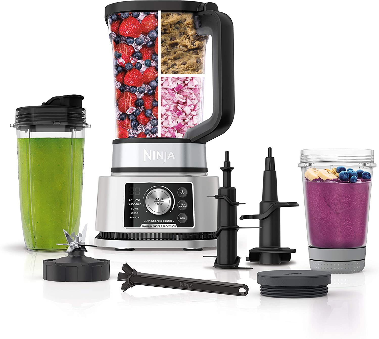 Ninja Foodi SS351 Power Blender & Processor System with Smoothie Bowl Maker and Nutrient Extractor*. 4in1 Blender + Food Processor, 1400WP smartTORQUE 6 Auto-iQ Presets