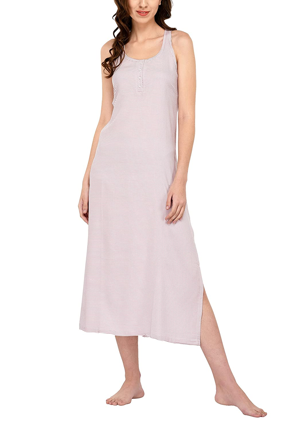 Pink Horizontal Stripe Vie De Rêve New York Nightgowns for Women Maxi Dresses for Women