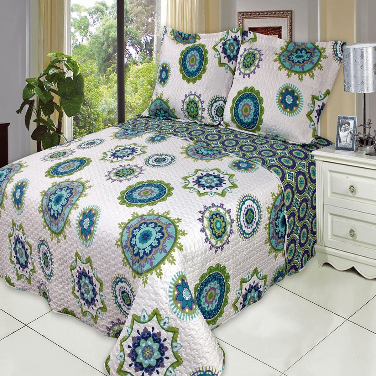 Moon Daughter 3 Pcs Julia Oversize Printed King Calking Coverlet Bedspread Set 100% Microfiber Cover Cool Color
