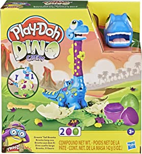 Play-Doh Dino Crew Growin' Tall Bronto Toy Dinosaur for Kids 3 Years and Up with 2 Eggs, 2.5 Ounces Each, Non-Toxic