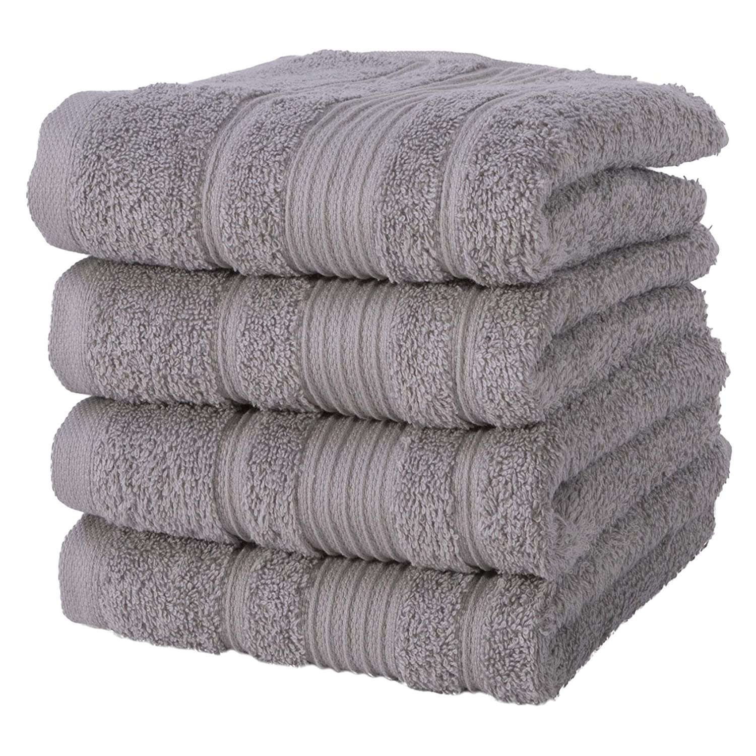 Qute Home Hand Towels - 4 Pack, (16 x 30 inches) | 100% Turkish Cotton | Super Soft Highly Absorbent | Spa & Hotel Quality Towels (Grey)