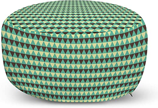Amazon Com Lunarable Vintage Ottoman Pouf 3 Colored Triangles Art Deco Style Geometrical Composition Decorative Soft Foot Rest With Removable Cover Living Room And Bedroom Pale Green Chocolate Furniture Decor