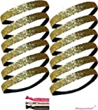 12 Pack: Twelve Glitter Headbands by Activewear Apparel (12-Gold)