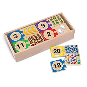 """Melissa & Doug Self-Correcting Number Puzzles, Developmental Toys, Wooden Storage Box, Matching & Counting Skill Development, 40 Pieces, 12.75"""" H x 5.75"""" W x 2.75"""" L"""